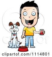 Clipart Happy Boy Feeding His Dog Royalty Free Vector Illustration