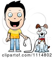 Clipart Happy Boy Ready To Walk His Dog Royalty Free Vector Illustration