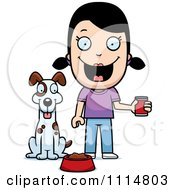 Clipart Happy Girl Feeding Her Dog Royalty Free Vector Illustration