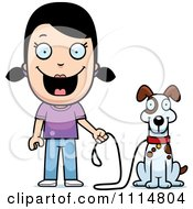 Clipart Happy Girl Ready To Walk Her Dog Royalty Free Vector Illustration