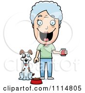 Clipart Happy Senior Woman Feeding Her Dog Royalty Free Vector Illustration