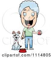 Clipart Happy Senior Woman Feeding Her Dog Royalty Free Vector Illustration by Cory Thoman