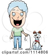Clipart Happy Senior Woman Ready To Walk Her Dog Royalty Free Vector Illustration