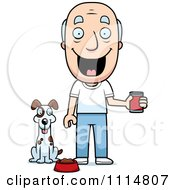 Clipart Happy Senior Man Feeding His Dog Royalty Free Vector Illustration