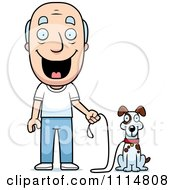 Clipart Happy Senior Man Ready To Walk His Dog Royalty Free Vector Illustration
