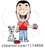 Clipart Happy Man Feeding His Dog Royalty Free Vector Illustration