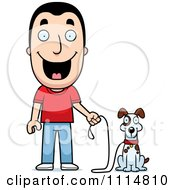 Clipart Happy Man Ready To Walk His Dog Royalty Free Vector Illustration