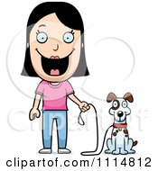 Clipart Happy Woman Ready To Walk Her Dog Royalty Free Vector Illustration