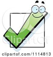 Happy Green Check Mark Over A Box