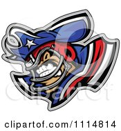Competitive Patriot Football Player Mascot With Shoulder Pads