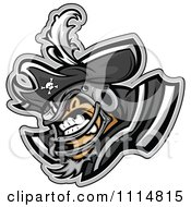 Clipart Competitive Pirate Football Player Mascot With Shoulder Pads Royalty Free Vector Illustration by Chromaco