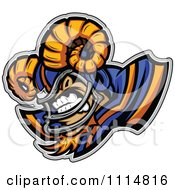 Competitive Ram Football Player Mascot With Shoulder Pads