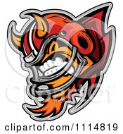 Aggressive Devil Football Player Mascot With Shoulder Pads