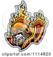 Clipart Competitive Flaming Football Player Mascot Royalty Free Vector Illustration by Chromaco