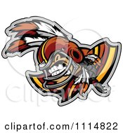 Clipart Competitive Native American Brave Football Player Mascot With Shoulder Pads Royalty Free Vector Illustration by Chromaco