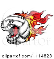 Clipart Aggressive Screaming Flaming Volleyball Royalty Free Vector Illustration
