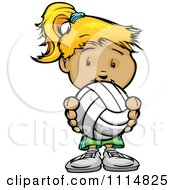 Clipart Cute Blond Athletic Girl Holding A Volleyball Royalty Free Vector Illustration