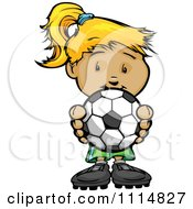Clipart Cute Blond Athletic Girl Holding A Soccer Ball Royalty Free Vector Illustration