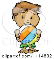 Clipart Cute Beach Boy Holding A Ball Royalty Free Vector Illustration