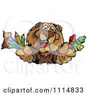 Clipart Happy Bear Mascot Holding Art Supplies Royalty Free Vector Illustration