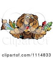 Happy Bear Mascot Holding Art Supplies