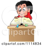 Clipart Happy Hispanic Girl Reading A Book At Her Desk Royalty Free Vector Illustration