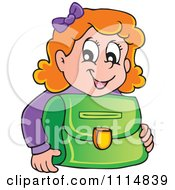 Red Haired School Girl Smiling Over A Green Bag