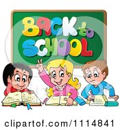 Clipart Three Happy Kids Under A Back To School Chalkboard Royalty Free Vector Illustration by visekart
