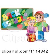 Clipart Two Happy Kids By A Back To School Chalkboard Royalty Free Vector Illustration
