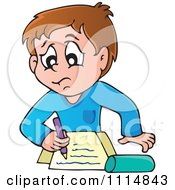 Clipart Stressed School Boy Writing Royalty Free Vector Illustration