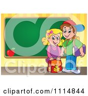 Clipart Two Happy Kids Standing By A School Chalkboard Royalty Free Vector Illustration