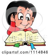 Happy Hispanic Girl Reading A Book