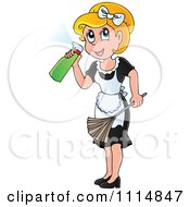 Clipart Blond Maid Spraying Cleanser And Holding A Duster Royalty Free Vector Illustration