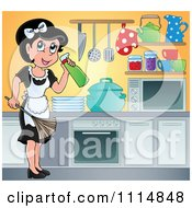 Clipart Happy Maid Cleaning A Kitchen Royalty Free Vector Illustration by visekart