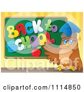 Clipart Professor Owl Presenting A Back To School Chalkboard Royalty Free Vector Illustration by visekart
