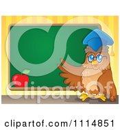 Clipart Teacher Owl Presenting A Chalkboard Royalty Free Vector Illustration