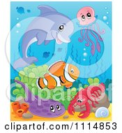 Clipart Cute Dolphin Jellyfish Clownfish Flounder And Lobster In The Ocean Royalty Free Vector Illustration by visekart