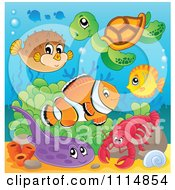 Clipart Cute Blowfish Sea Turtle Fish Flounder And Lobster In The Ocean Royalty Free Vector Illustration by visekart