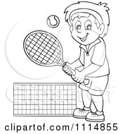 Clipart Outlined Happy Man Playing Tennis Royalty Free Vector Illustration by visekart
