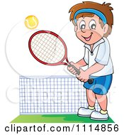 Clipart Happy Man Playing Tennis Royalty Free Vector Illustration