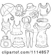Clipart Outlined Accessories And Clothes 1 Royalty Free Vector Illustration by visekart