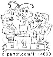 Clipart Outlined Athletes Standing On Placement Podiums Royalty Free Vector Illustration by visekart