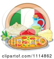 Italian Food With A Flag Circle Spaghetti Oil Pizza Cheese Olives And Tomatoes
