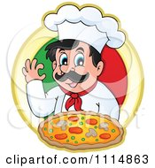 Clipart Pizza Chef Gesturing Ok And Holding Pizza Over An Italian Flag Circle Royalty Free Vector Illustration