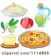 Italian Food Spaghetti Noodles Olives Tomato Oil Cheese And Pizza