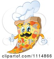 Clipart Italian Chef Pizza Slice With A Hat Royalty Free Vector Illustration