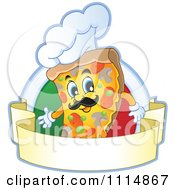 Clipart Chef Pizza Slice With A Hat Over An Italian Flag Circle With A Banner Royalty Free Vector Illustration by visekart