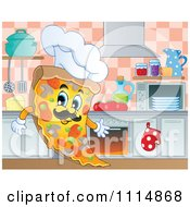 Clipart Italian Chef Pizza Slice In A Kitchen Royalty Free Vector Illustration by visekart