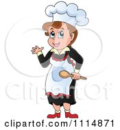 Clipart Female Chef Presenting And Holding A Spoon Royalty Free Vector Illustration by visekart