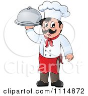 Clipart Happy Male Chef Carrying A Cloche Royalty Free Vector Illustration by visekart